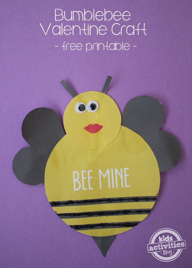 Bumblebee Valentine Craft {with a Free Printable}. So stinking cute!  #Kids #Valentine #FreePrintable