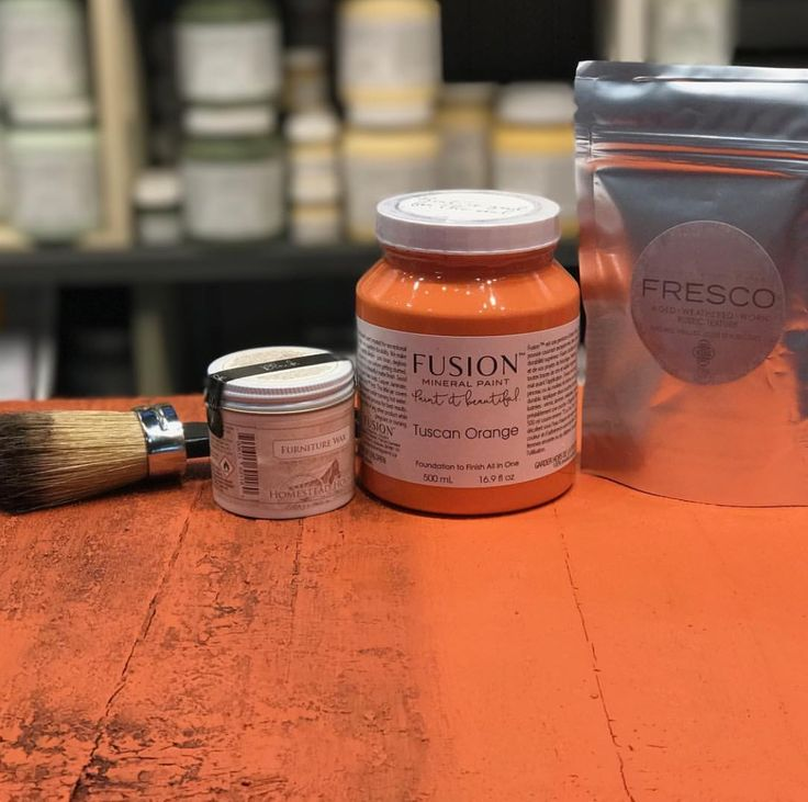 Tuscan Orange with Fresco texturizing powder. Before and after using the Black Furniture Wax. Look how the texture has been emphasized! fusionmineralpaint.com #FusionMineralPaint #FurniturePaint #DIYHomeDecor