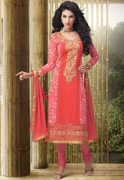 Peach Embroidered Dress Material