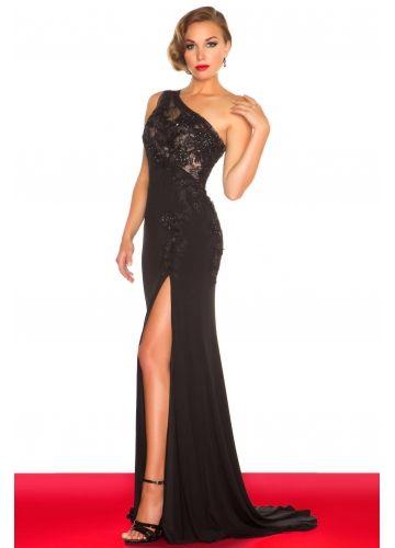 Gorgeous Black One Shoulder Sweep Chiffon Prom Dress