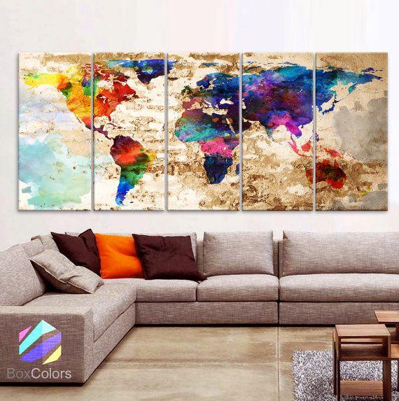 XLARGE 30 x 70 5 panelen Art Canvas Print originele door BoxColors