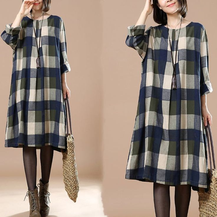 Women's Autumn Casual Round Neck Long Sleeve Plaid Dress