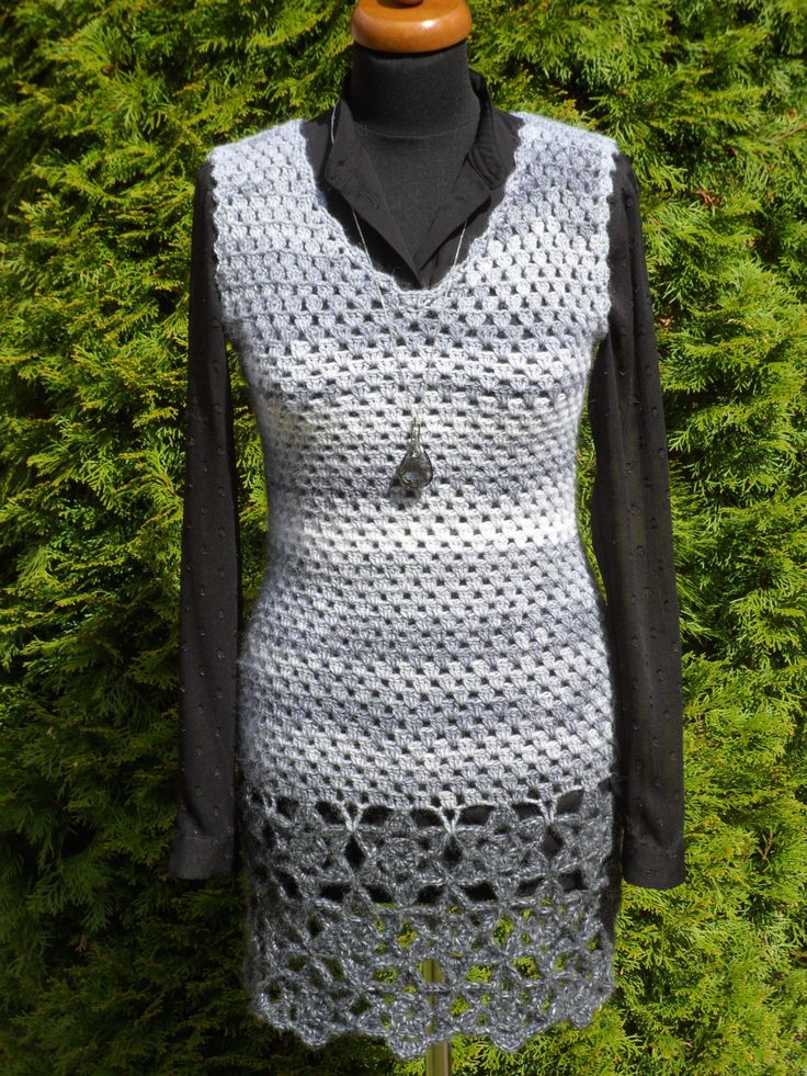 Handmade woman's crochet dress or tunic, Lace Woman Dress, noticeable lower pattern, grey colour, ready to ship #etsy #crochetclothing #crochettunic #crochetdress #giftideas