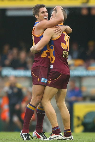 Simon Black of the Lions celebrates after kicking a goal during the round seven AFL match between the Brisbane Lions and the West Coast Eagles at The Gabba on May 11, 2013 in Brisbane, Australia.
