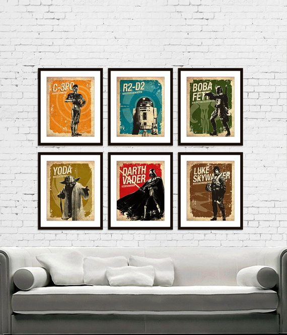 Star Wars - C-3PO - R2-D2 - Darth Vader - Boba Fett - Yoda - Luke Skywalker Vintage Silhouette Poster Print Set of 6 via Etsy