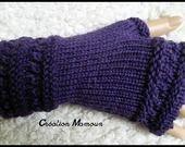 """Mitaines """"les élégantes"""" en alpaga violet : Mitaines, gants par mamountricote sur ALittleMarket"""