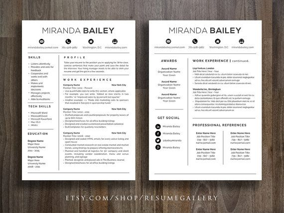 Resume Template with Free Cover Letter CV by ResumeGallery on Etsy