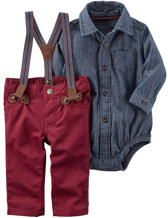 Love this little boy outfit.  The chambray shirt and the little suspenders, adorable! #baby#boy#fashion#carters #ssafflink