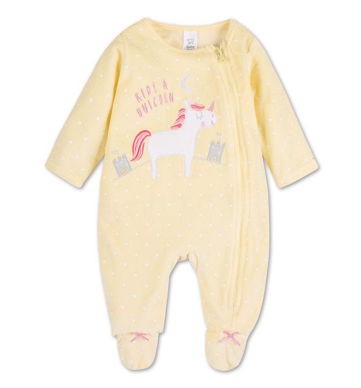 Pyjama pour bébé en velours dans jaune