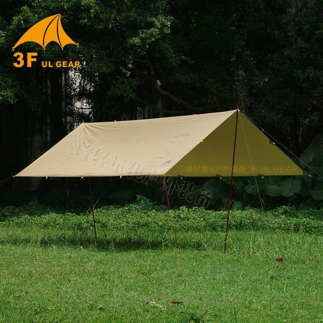 3f Ul Gear Tarp Korea National Forest 4x4 4m Anti Uv 210t With Silver Coating Outdoor Large Shelter Beach Awning Tourist Canop Beach Tent Camping Survival Tent