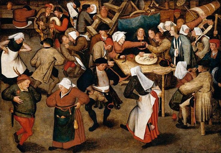 BRUEGEL WEDDING DANCE IN A BARN 1616  (PUBLIC DOMAIN)