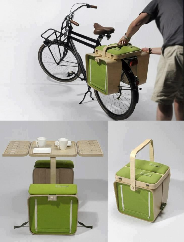 Bicycle picnic: Panniers fold out into picnic furniture. #velojoy