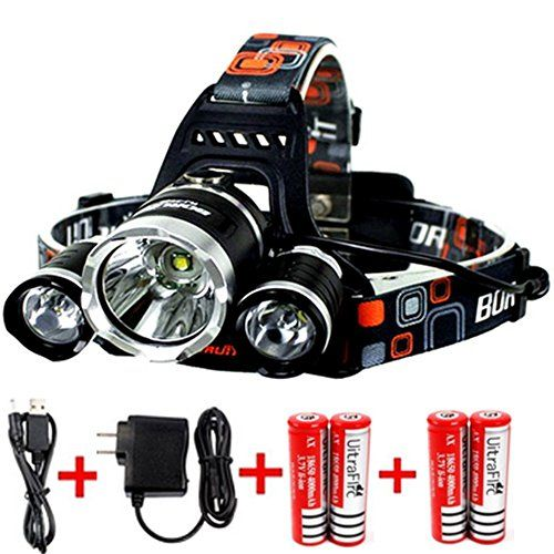 KAZOKU Bright Headlight Headlamp Flashlight Torch 3 CREE XML2 T6 LED with 4 PCS Rechargeable Batteries and Wall Charger for Hiking Camping Riding Fishing Hunting ** You can find out more details at the link of the image.