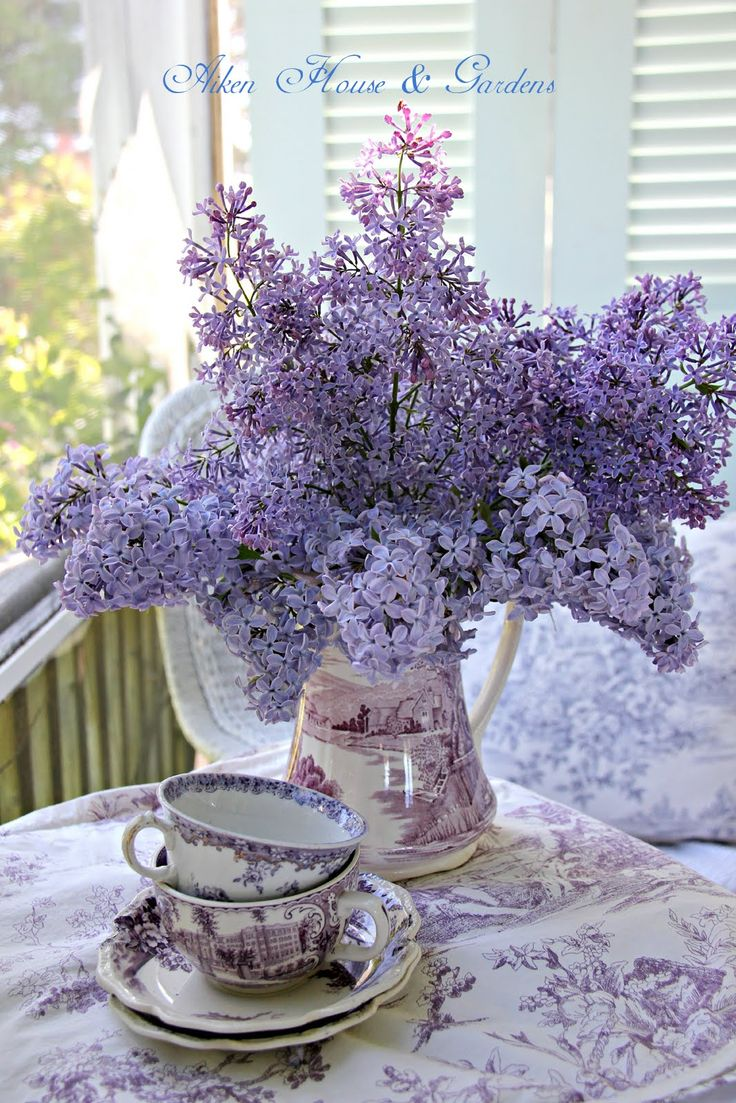 Lilacs & Vintage Transferware in the color lilac. A rare find.