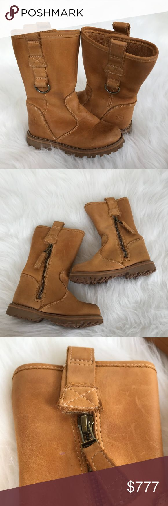 Timberland Girl's Pull On Side Zip Leather Boots Timberland Girl's Pull On Side Zip Leather Boots in tan! Love this adorable toddler girl boots! Perfect in rain, snow or everyday wear! Side zipper & pull on straps. Size 8. Bottoms show no signs of wear. Leather has minimal/normal wear. LW2653110517 Timberland Shoes Boots