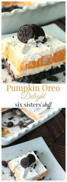 Pumpkin Oreo Delight from SixSistersStuff.com | The most creamy, rich, and delicious fall dessert!
