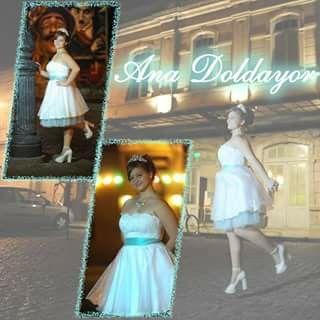 Vestido 15años blanco con faja de Shangtng verde agua.  # blanco #verdeagua #AnaDoldayor #vestidocorto