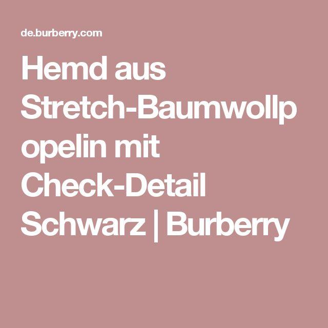 Hemd aus Stretch-Baumwollpopelin mit Check-Detail Schwarz | Burberry