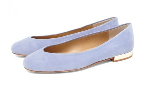 The CLEO B classic Hip Hop flats in a light blue suede with gold heel detailing #sea #monsters #shoe #collection #beatles #inspired #blue #gold #heels #summer #suede #fashion #designer #london
