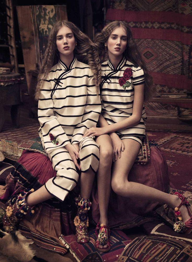 Cecilie Moosgaard, Amalie Moosgaard in Harper's Bazaar GermanyPh: TakayFashion Editor: Kai MargranderHair: Kenshin AsanoMUA: Morgane Martini