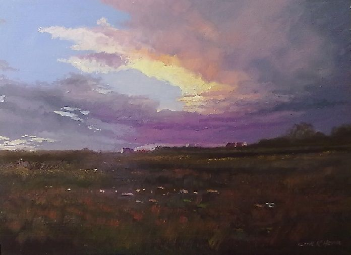 """""""Sunset in Prince Albert""""   600 x 800mm oils & brush on board no.2"""