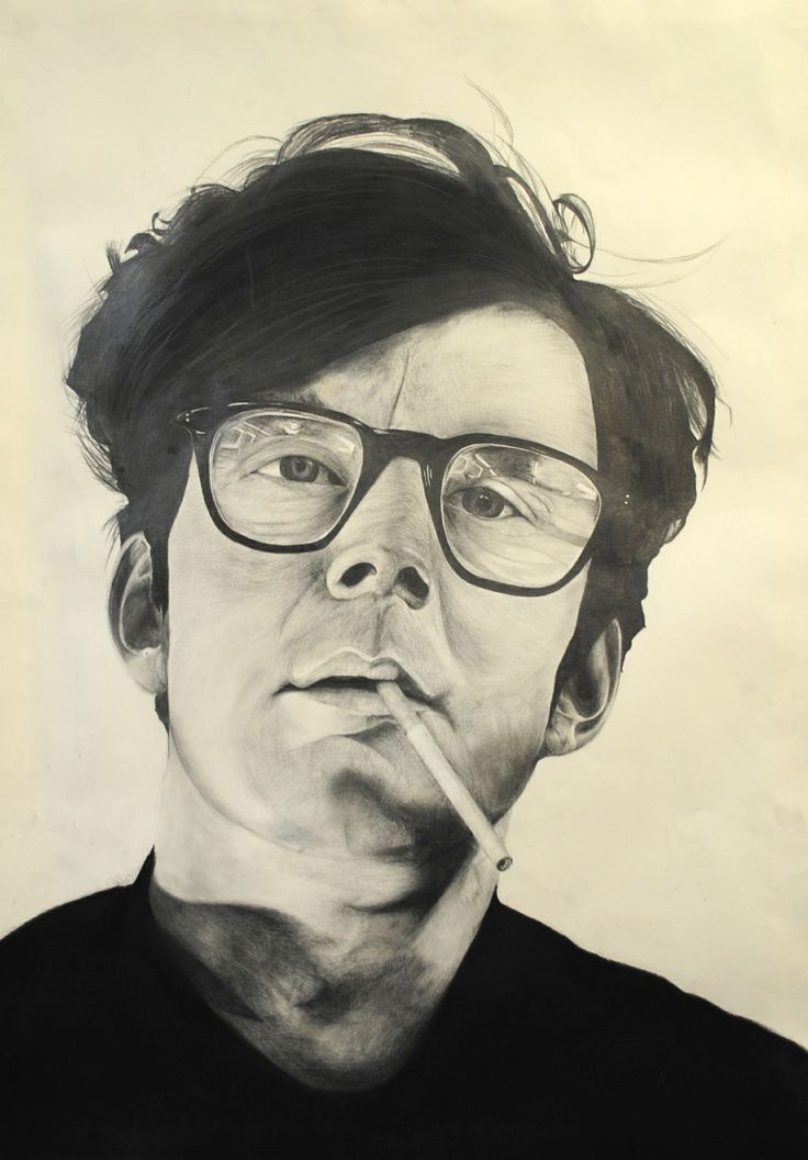 This drawing was inspired by Chuck Close. I used charcoal and pencil to create details in the drawing.