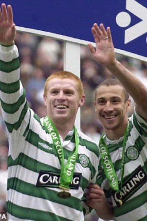 Neil Lennon (Celtic FC) and Henrik Larsson (Celtic FC, 1997–2004, 221 apps, 174 goals)