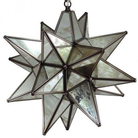 Moravian Antique Mirrored Glass Star Light