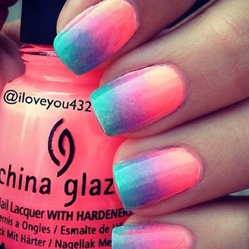 Really cute summer ombre nails! Love how happy they look!