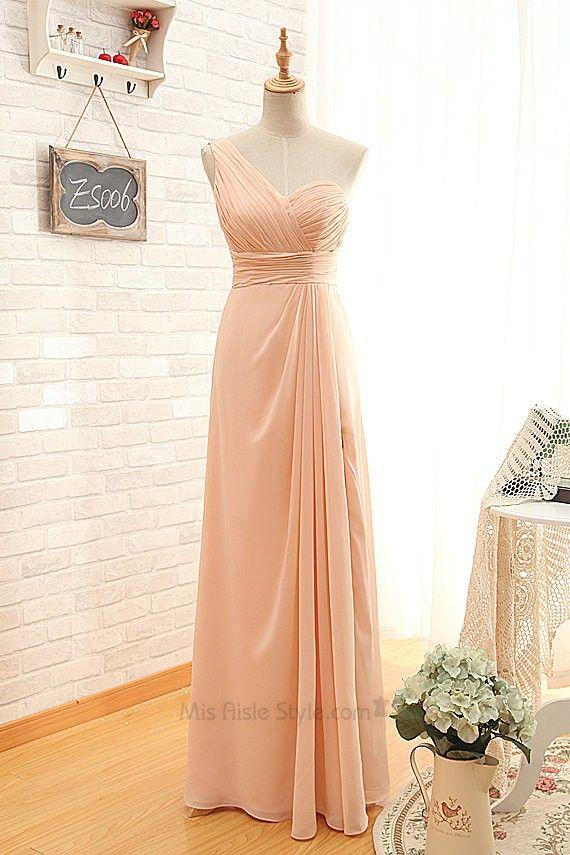 Long One Shoulder Blush Split Bridesmaid Dress