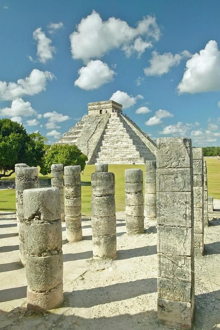 Chichen Itza Temple of the Warriors with Grande Pyramid in background
