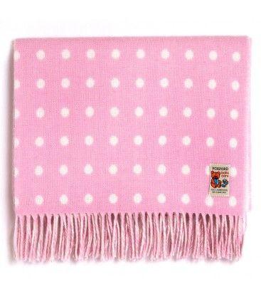 Baby Pink Spot Blanket. Foxford Woollen Mills
