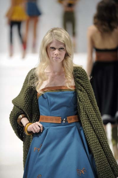 Sami inspired fashion;  Blue wool dress with reindeer leather belt and knitted shawl