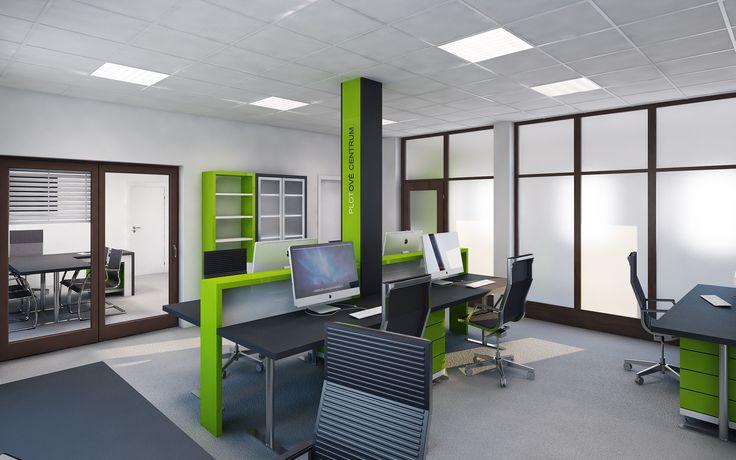 Stejně jako recepce jsou kanceláře řešeny jednoduše a prakticky s ohledem na potřeby pracovníků. V případě nutnosti rozšíření týmu se jednoduchou úpravou kancelář dá rozšířit minimálně o další 2 pracovní místa. Pracovní stoly budou vyrobeny z jednoduchých desek v tmavém dekoru na kancelářských podnožích a jako úložné prostory pro každého zaměstnance budou sloužit kontejnery na kolečkách.