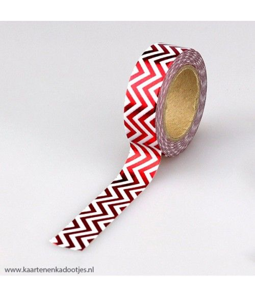 Metallic washi tape wit met rode zigzag