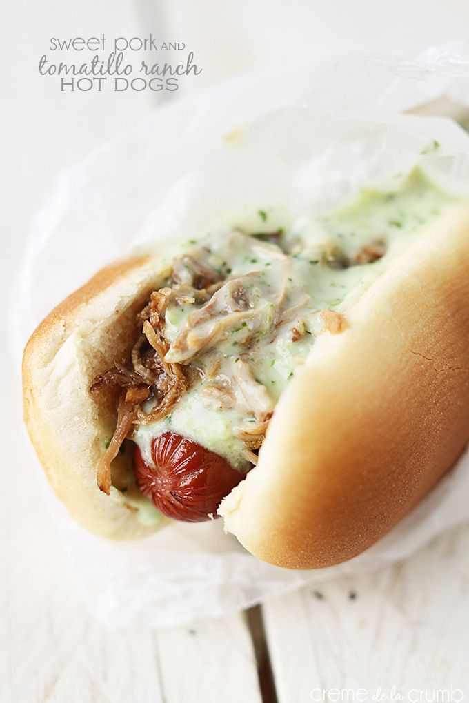 Juicy broiled hot dogs topped with sweet shredded pork and creamy tomatillo ranch!