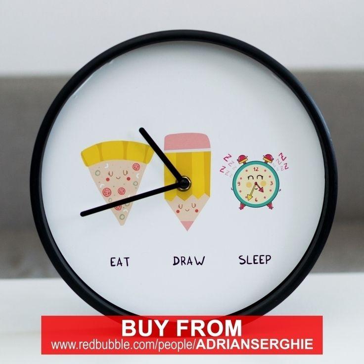 """Eat, Draw, Sleep"" wall clock - from @adrianserghie on Ello."