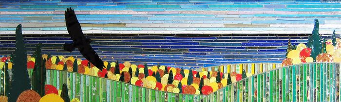"""Michael Sweere create mosaics with recycled materials. This piece: """"Above Lutsen"""" - Salvaged tin and nail collage on plywood panel"""