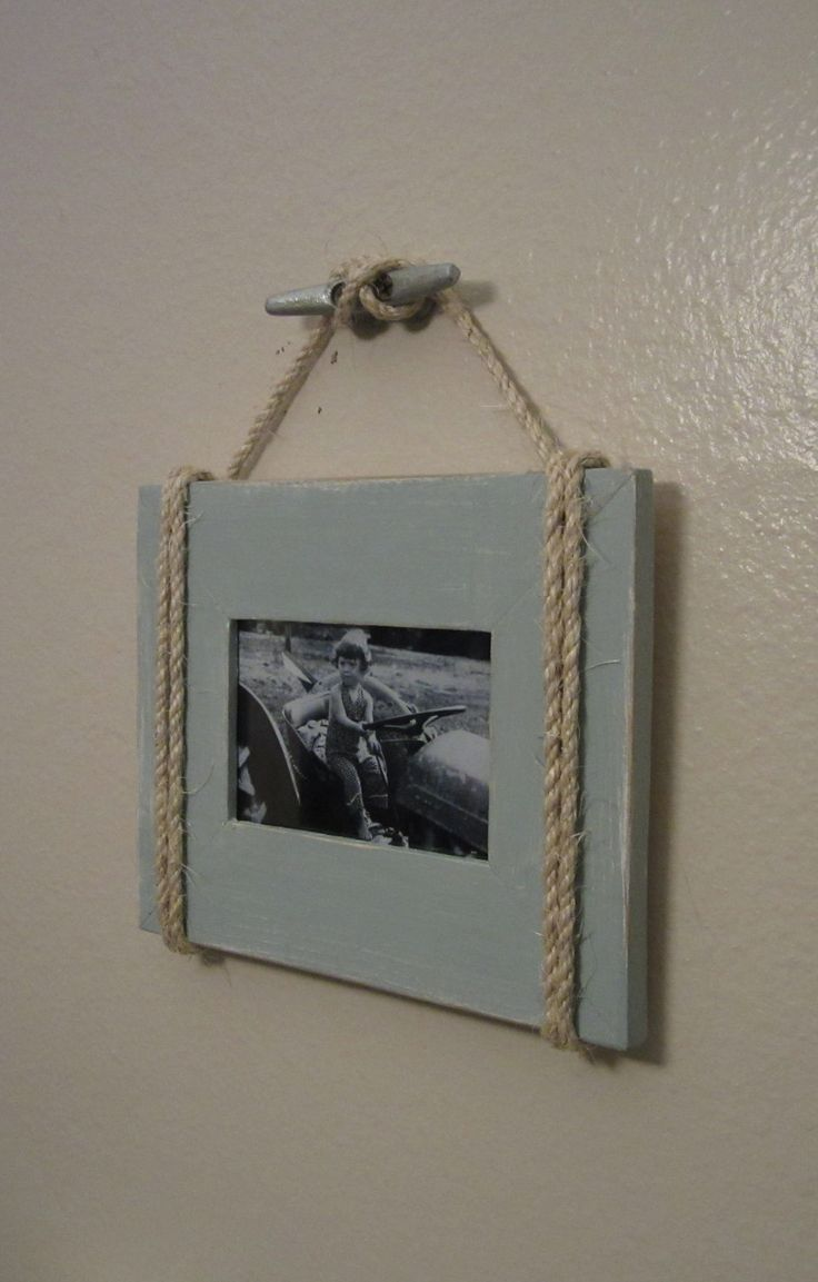 Shabby Chic Nautical Beach cottage 4X6 Rope Boat cleat Picture Frame in Distressed Watery Blue. $19.95, via Etsy.