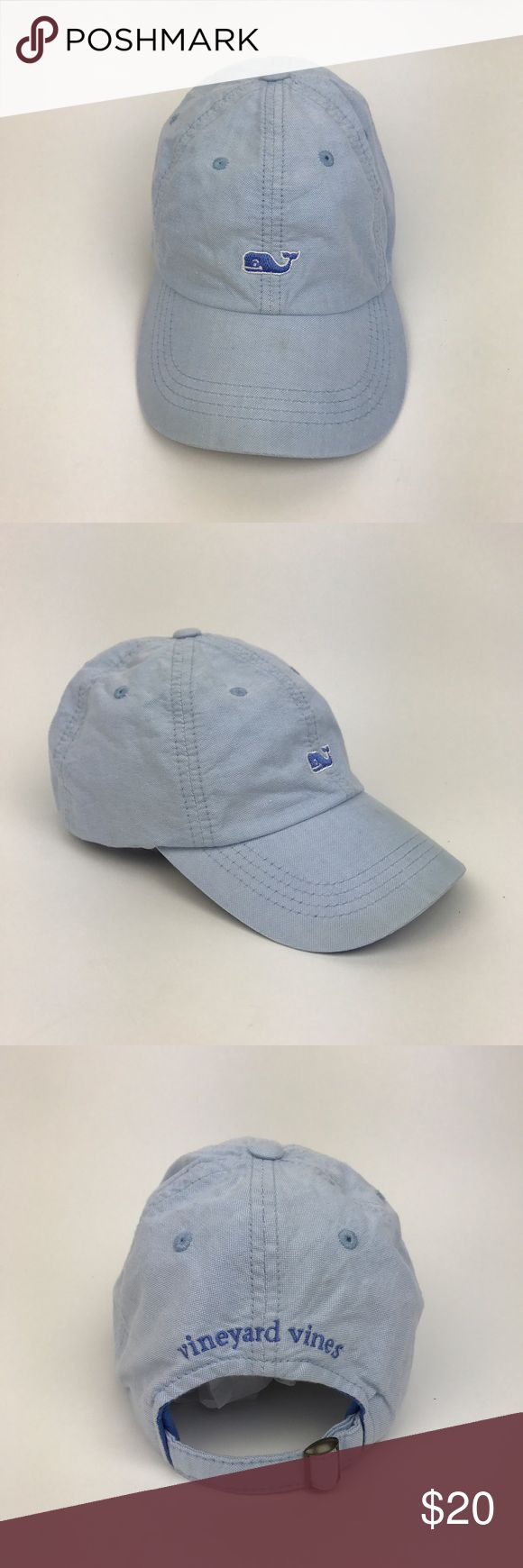 [Vineyard Vines] Whale Logo Baseball Hat Cap Blue Classic cotton baseball hat. Whale logo embroidery on front. Spell out logo on back. Adjustable strap. Curved Brim. Light blue.  🔹Condition: Good pre-owned condition. Small stain on top of Brim. Shown in close up photo. Hat has been washed and cleaned. Vineyard Vines Accessories Hats