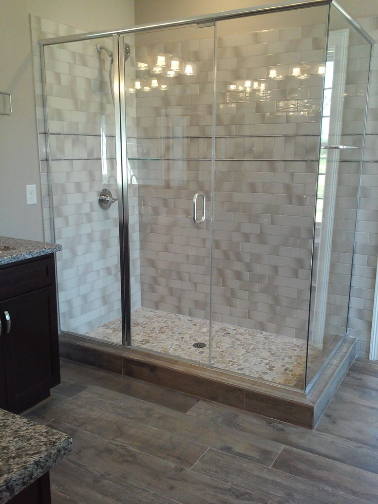 master bath weathered wood look tile floor  gray subway