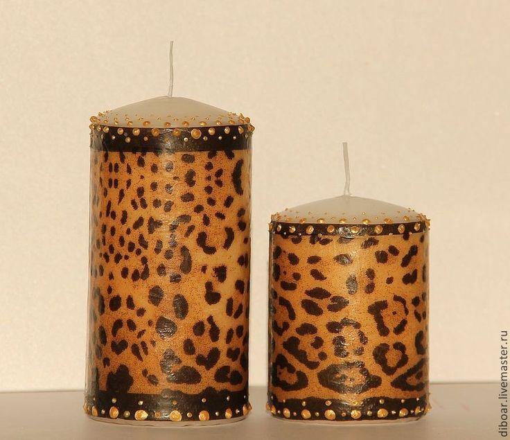 Купить Свечи леопардовые - коричневый, леопардовый принт, леопардовый, свечи ручной работы