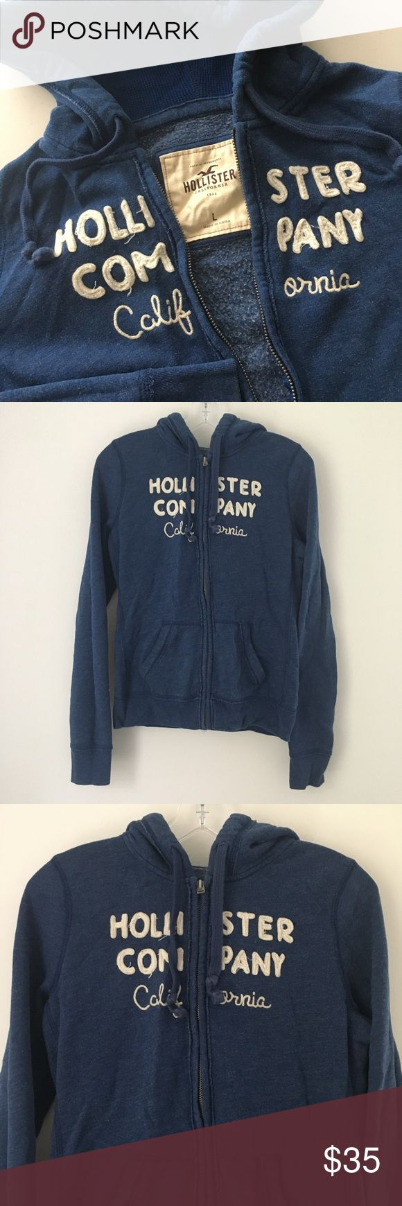"HOLLISTER SOFT FLEECE JACKET SWEATER SWEATSHIRT !! Awesome Dark Navy Blue / Ivory Off-white Embroidered Patch Hollister California Distressed Full Zip Up Hoodie Hooded Sweater Sweatshirt Jacket Top SOFT Fleece RARE || Brand new || Never used || NO major flaws. INTENTIONALLY distressed (with pilling) + meant to look ""worn-in"". 
