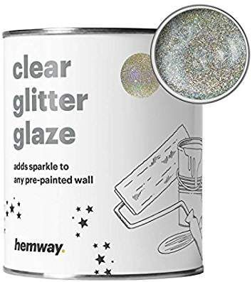 Hemway Clear Glitter Paint Glaze (Silver & Gold Holographic) 1L / Quart for Pre-Painted Walls Acrylic, Latex, Emulsion, Ceiling, Wood, Varnish (CHOICE OF 25 GLITTER COLOURS) #GlitterPaint