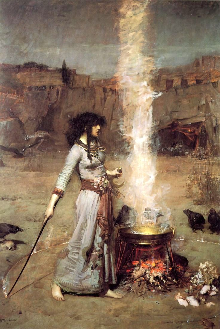 "Pre-Raphaelite Painting: ""The Magic Circle,"" 1886, by John William Waterhouse. #Pre-Raphaelite."