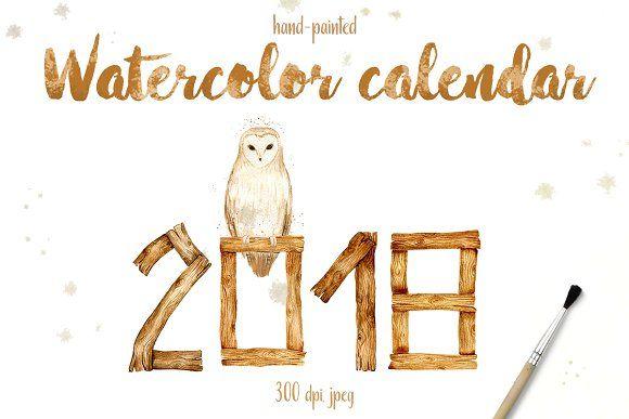 Watercolor calendar 2018 by IrinaUsmanova on @creativemarket