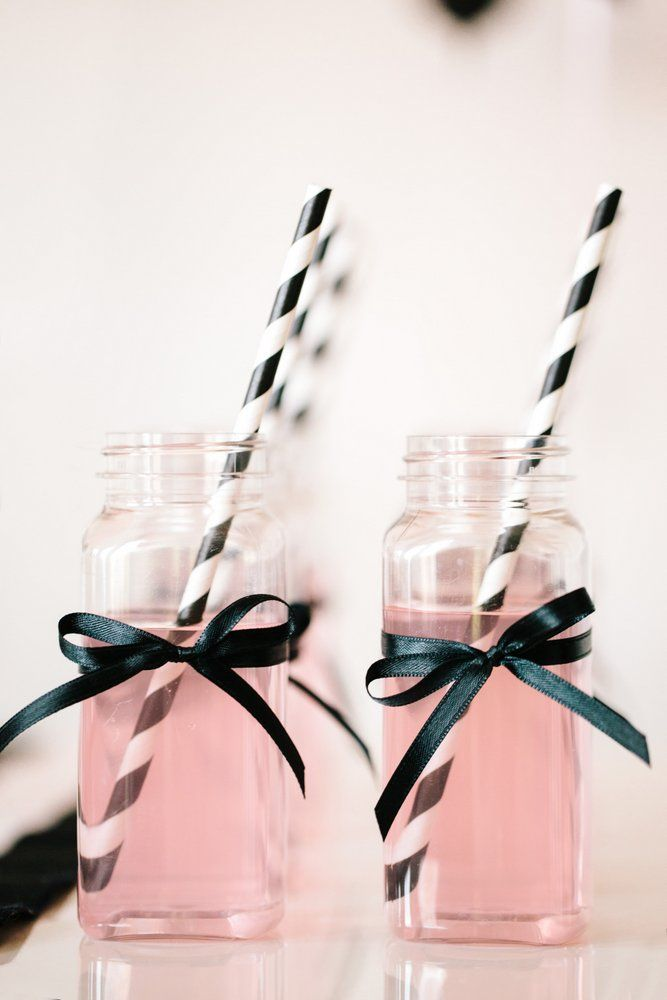 Barbie™️ Glam Birthday Party :: Pink Lemonade in Plastic Bottles with Black and White Striped Straws