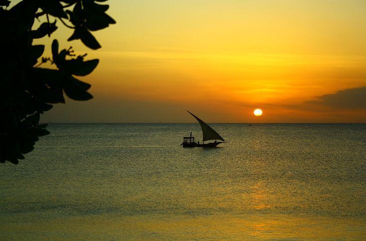 Boat sailing at Sunset in Zanzibar of Africa