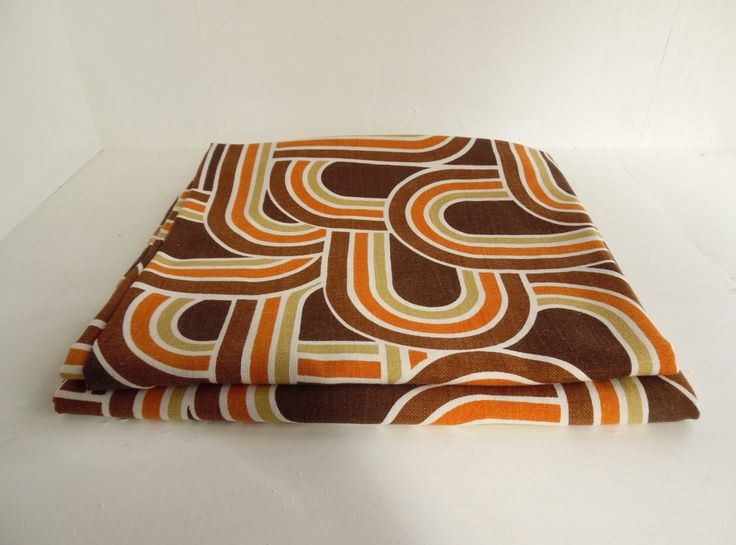 Mid century curtains, pair, Mod, retro, geometric, Marks and Spencer St Micheal's, brown and orange, fabric, wide by BlindDogVintage on Etsy