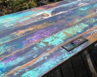 colorido pintado mesa de comedor mano había hecha por trashstudio